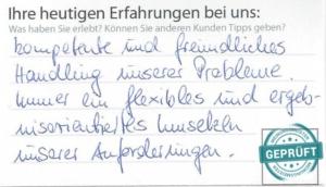 Original- Kundenbewertungsbogen der Firma G +F Strate GmbH