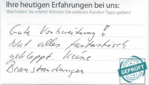 Original- Kundenbewertungsbogen Verkehrsmanagementzentrale Niedersachsen