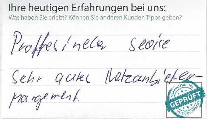 Original- Kundenbewertungsbogen der Firma L. Maat & Sohn B.V.