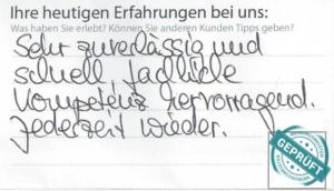 Original- Kundenbewertungsbogen der Firma Du-Trans GmbH.